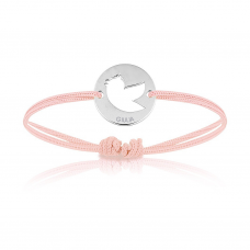 Baby Armband Silber mit Vogel, pink, Armband zu personalisieren, Aaina & Co