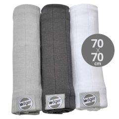 Mulltücher 100% Baumwolle Mullwindeln Baby-Gaze 3er-Pack Swaddle, Lodger grau