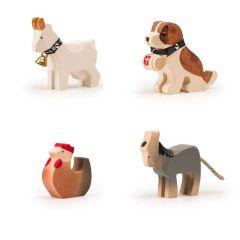 Bauernhoftiere Trauffer Holz, hochwertiges und langlebiges Spielzeug, Schweizer Qualität, 4er-Set