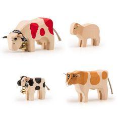 Bauernhoftiere Holz Trauffer, hochwertiges und langlebiges Spielzeug, Schweizer Qualität, 4er-Set