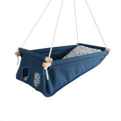 Baby Hängematte dunkel blau, Hängewiege, Öko-Tex Standard 100, Gratis Versand überall in die Schweiz