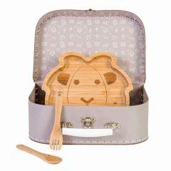 Baby Mahlzeit Koffer, Geburt Geschenk Bambus Teller und Besteck, Bambam