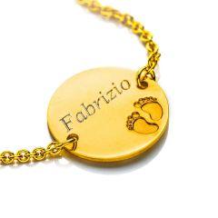 Baby Armband Engel Gold 375, Gravurplatte rechteckig, zu personnalisieren, Gratis Versand in die Schweiz