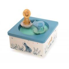 Spieluhr Elefant und Löwe , Geschenkidee zur Gebut eines Baby, Moulin Roty, Schweizer Online Shop