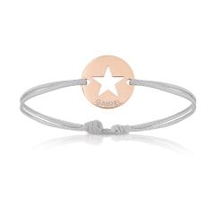 Baby Armband 18k Rotgold beschichtet mit Stern, grau, Armband zu personalisieren, Aaina & Co