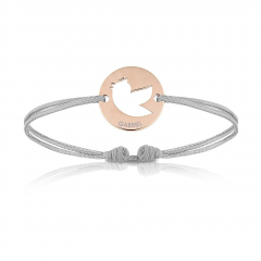 Baby Armband mit Vogel 18k Rotgold beschichtet, grau, Armband zu personalisieren, Aaina & Co