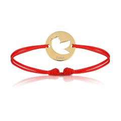 Baby Armband 18k Gelbgold vergoldet mit Vogel, rot, Armband zu personalisieren, Aaina & Co