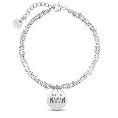 Muttertag Geschenk Silbernes Kugelkettenarmband zu personalisieren, silver, Aaina & Co