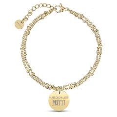 Muttertag Geschenk Gelbgold Kugelkettenarmband zu personalisieren, gelb gold, Aaina & Co