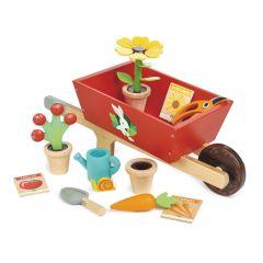 Schubkarre aus Massivholz mit Zubehör, Spielzeug Mädchen und Junge ab 3, Tender Leaf Toys