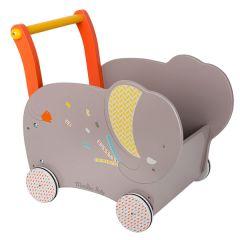 Baby Lernlaufwagen aus Holz Elefant Moulin Roty