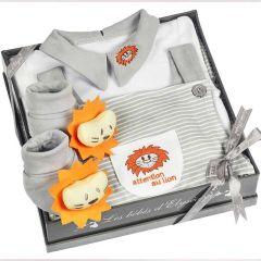 Geschenkset für Junge, mit Overall Löwe 6 Monate, Les Bébés d'Elizéa