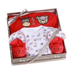 Neugeborenen Geschenkset Zoo rot 6 Monate, Les Bébés d'Elizéa