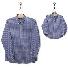 Identische Hemden für Vater und Sohn (Karos-dunkelblau)