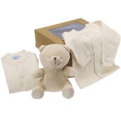 Bio Geschenk Geburt, Plüsch und Babykleidung, bei der Geburt oder Babyparty anzubieten, Les Bébés d'Elizéa, beige