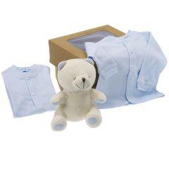 Bio Geschenk Geburt Junge, Plüsch und Babykleidung, bei der Geburt oder Babyparty anzubieten, Les Bébés d'Elizéa, blau