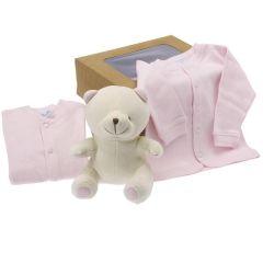 Bio Geschenk Geburt Mädchen, Plüsch und Babykleidung, bei der Geburt oder Babyparty anzubieten, Les Bébés d'Elizéa, rosa