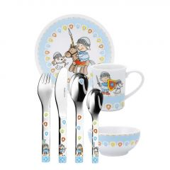 Kindergeschirr für Junge und Besteck mit Gravur 7-teilig Miko Puresigns