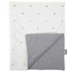 couverture bébé grise  et blanche à pois dorés de la marque Childhome