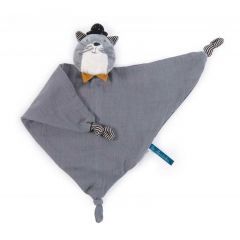 Schmusetuch Katze 100% Baumwolle personalisierbar, Geschenk ab Geburt Moulin Roty