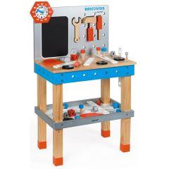 Brico'Kids Werkbank Gross aus Holz, inkl, 40 Teile Zubehör, von 3 bis 8, Spielzeug Janod
