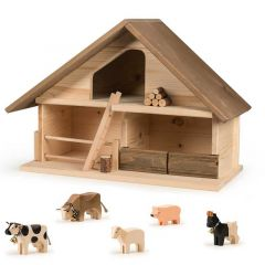 Stall Trauffer Dach braun, Holzspielwaren 100% Schweiz, Geschenkidee, Gratis Versand