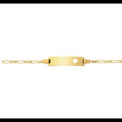 Baby Armband Gold 750, Gravurplatte mit ausgestanztem Herz, zu personnalisieren, Gratis Versand in die Schweiz
