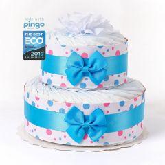 Windeltorte Punkte 40 ökologischen Pingo Windeln, Baby Junge, kostenlose Lieferung in die Schweiz, blau