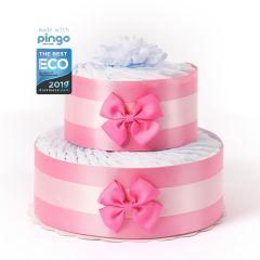 Windeltorte Punkte 40 ökologischen Pingo Windeln, Geschenk Geburt Mädchen, kostenlose Lieferung in die Schweiz, rosa