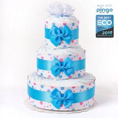 Windeltorte Punkte 60 ökologischen Pingo Windeln, Baby Junge, kostenlose Lieferung in die Schweiz, blau