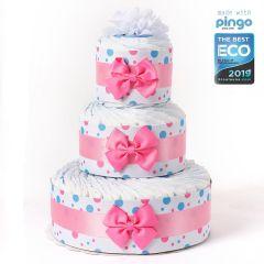 Windeltorte Punkte 60 ökologischen Pingo Windeln, Baby Mädchen, kostenlose Lieferung in die Schweiz, Pink