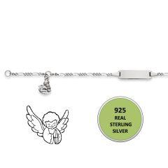 Baby Armband Engel Silber 925, rechteckig