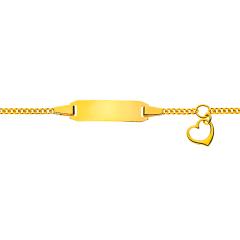 Baby Armband mit Herzanhänger Gravurplatte rechtecking, Gold 750, Gratis Versand in die Schweiz