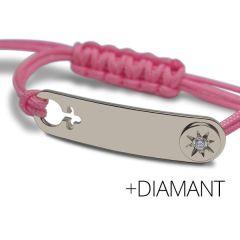 Baby Armband Silber 925 mit Diamant, rechteckig Mikado pink