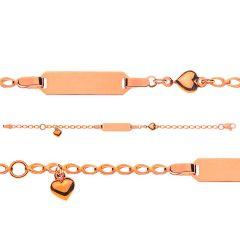 Baby Mädcheb Armband Rotgold 750 Gravurplatte rechtecking, Gratis Versand in die Schweiz
