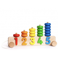 Stapel Zahlen Auto aus Holz, Bildungsspielsachen Kinder ab 2, Bajo