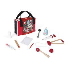 Doktortasche inkl. 10 Teile Zubehör Holzspielzeug von 3 bis 8 Jahre alt, Janod