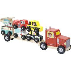 Lastwagen mit Stapelfahrzeugen, Holzspielzeug, Vilac