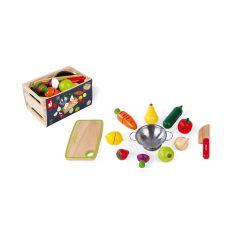 Marktkiste Obst- und Gemüsesorten zum Schneiden, Holzspielzeug für Kinder ab 3, Janod
