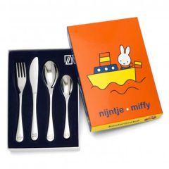 Kinderbesteck Miffy mit Fahrzeuge Dekor aber ohne Farbe, 4-teilig spülmaschinengeeignet, Zilverstad