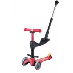 Scooter mit Push Bar Mini Micro 3in1 Deluxe Plus, Ruby Red, Gratis Versand, Online Shop Schweiz