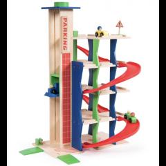 Parking mit Autolift aus Holz, Parkhaus für Autos, Spielzeug aus Holz ab 3 Jahre alt, Moulin Roty