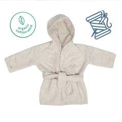 Kinder Bademantel Öko-Baumwolle grau Trixie