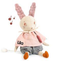 Musikdose Moulin Roty Personalisierte Spieluhr Plüsch Hase,  Baby Geschenk für Mädchen