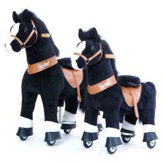 Ponycycle Small Blacky White Pferd mit Rollen für Kinder, Gratis Versand