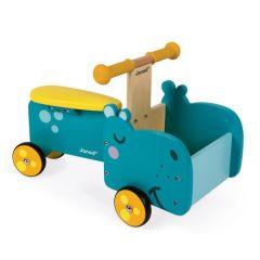 Laufrad Nilpferd mit beweglichem Vorderteil aus Holz, Baby ab 1 Jahr, Janod, Gratis Versand in die Schweiz