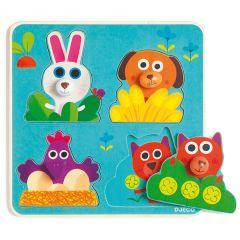 Baby Puzzle mit grossen Greifknöpfe Fermanimo ab 1 Jahr Djeco