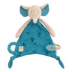Kuscheltuch Elefant zum Personalisieren, Geschenk ab Geburt mit Nuggihalter und Beissring, Moulin Roty