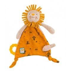 Kuscheltuch Löwe zum Personalisieren, Geschenk ab Geburt mit Nuggihalter und Beissring, Moulin Roty