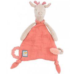 Kuscheltuch zum Personalisieren, Geschenk ab Geburt mit Nuggihalter und Beissring Giraffe, Moulin Roty